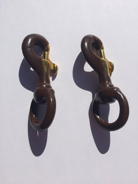 Inch Brown Rubber Coated Brass Swivel Snap
