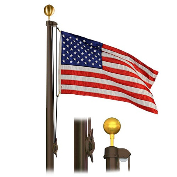 25' Flag Pole Bronze Finish 4 Sectional Special Budget Series