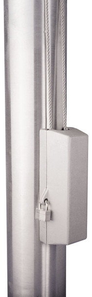 "Silver Cleat Cover Box With Padlock Lock Fits 4""-12"" Pole Diameter"