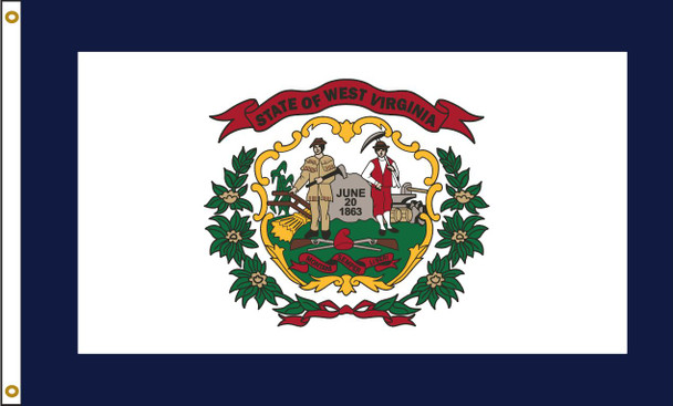 West Virginia 6'x10' Nylon State Flag 6ftx10ft