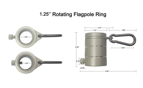 """Details of 1.25"""" Metal Aluminum Rotating Rings in inches"""