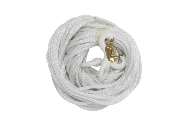 """1/4"""" Diameter x 50' Length White Flagpole Polypropylene Halyard And Pair of 3 Inch White Rubber Coated Brass Swivel Snap - Flagpole Rope Set"""