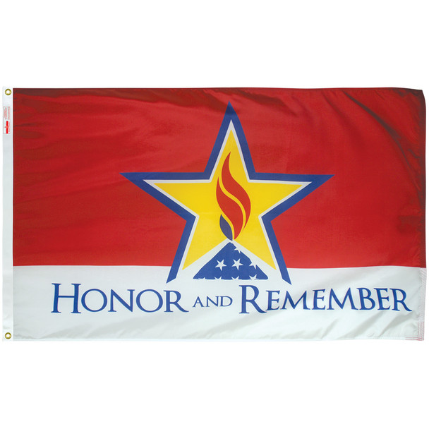 Honor And Remember 3ftx5ft Nylon Flag 3x5 Made In USA 3'x5'