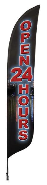 Open 24 Hours Blade Flag 2ft x 11ft Nylon