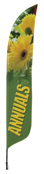 Annuals Flowers Blade Flag 2ft x 11ft Nylon