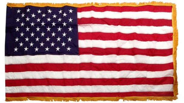 Perma-Nyl 3'x5' Nylon Indoor U.S. Flag Sleeved Gold Fringe By Valley Forge Flag 35241250