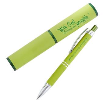 All Things Possible, Green - Matthew 19:26 Gift Pen in Case