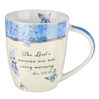 Lamentations 3:22-23 Floral Butterfly Mug
