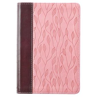 Brown and Pink Leaf Design KJV Bible Compact