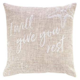 Give You Rest Square Pillow in Tan