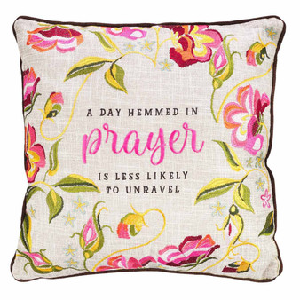 Hemmed in Prayer Embroidered Square Pillow