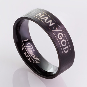 Man of God, Black - 1 Timothy 6:11 Men's Ring
