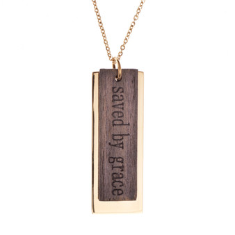 Saved By Grace Metal And Wood Necklace