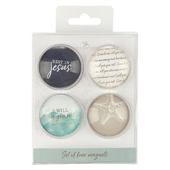 Give You Rest Glass Magnet Set of 4 - Matthew 11:28