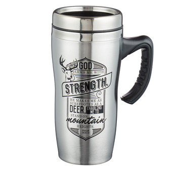 God Arms Me With Strength - Psalm 18:32-33 Stainless Steel Travel Mug