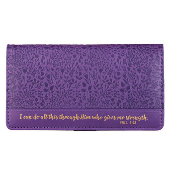 I Can Do All This Purple Faux Leather Checkbook Cover - Philippians 4:13