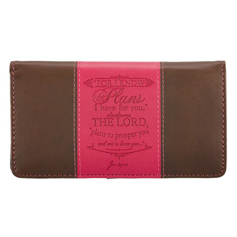 I Know the Plans in Pink & Brown - Jeremiah 29:11 Checkbook Cover