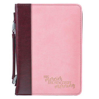 His Mercies Are New Every Morning Bible Cover in Pink