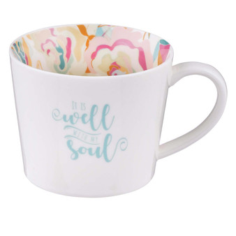 Well With My Soul Ceramic Mug in White with Floral Interior