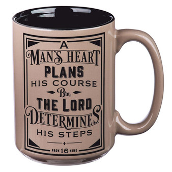 A Man's Heart Ceramic Coffee Mug in Brown - Proverbs 16:9
