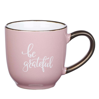 Be Grateful Ceramic Mug in Pink