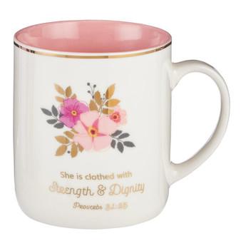Strength and Dignity Ceramic Coffee Mug – Proverbs 31:25