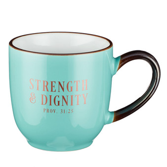 Strength and Dignity Coffee in Mint Green - Proverbs 31:25