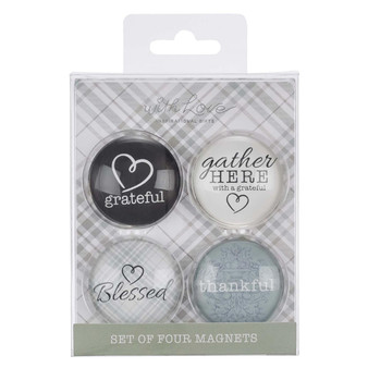 Gather Here With A Grateful Heart Glass Magnet Set