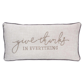 Give Thanks in Everything Rectangular Pillow in Natural Oat - 1 Thessalonians 5:18