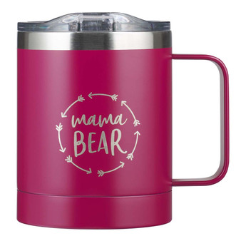 Mama Bear Berry-pink Camp Style Stainless Steel Mug