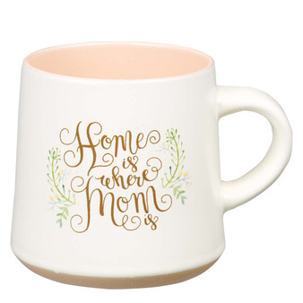 Home Is Where Mom Is Ceramic Mug with Clay Dipped Base