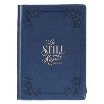 Be Still and Know Classic Faux Leather Zippered Journal in Navy Blue - Psalm 46:10