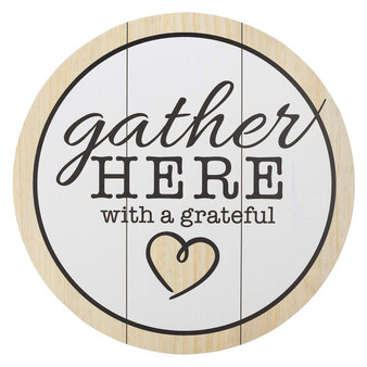 Gather Here With A Grateful Heart Round Wall Art