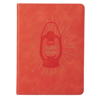 Let Your Light Shine Coral Handy-size Faux Leather Journal - Matthew 5:16