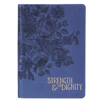 Strength & Dignity Zippered Faux Leather Journal in Navy