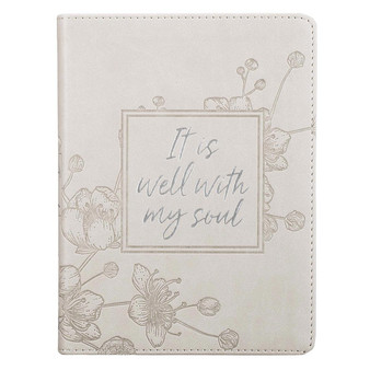 It Is Well Handy-sized Faux Leather Journal in Taupe