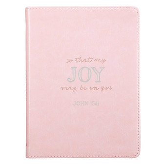 That My Joy May Be In You Handy-sized Faux Leather Journal in Pink - John 15:11