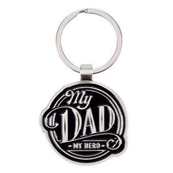 My Dad My Hero Black Metal Keyring in Gift Tin