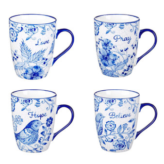 Believe, Hope, Pray & Love Ceramic Mug Set in Blue