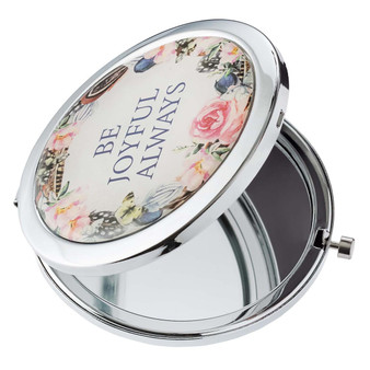 Be Joyful Always Compact Mirror in White