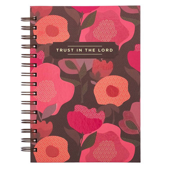 Trust In The Lord Pink Poppy Large Wirebound Journal - Proverbs 3:5