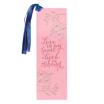 Love in My Heart Pink Faux Leather Bookmark