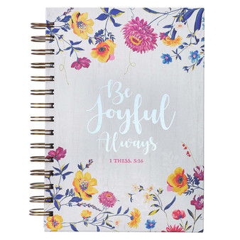 Be Joyful Always Large Wirebound Journal in White - 1 Thessalonians 5:16