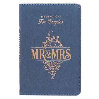 Mr. and Mrs. 366 Blue Faux Leather Devotions for Couples
