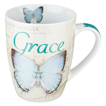Grace Blue Butterfly Coffee Mug - Ephesians 2:8