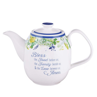 Bless The Food Before Us Ceramic Teapot