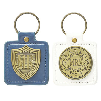 Mr and Mrs set of two Keyrings in Tin