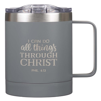 I Can Do All Things Camp Gray Style Stainless Steel Mug - Philippians 3:14