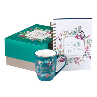 Let Your Faith Be Bigger Than Your Fear Journal and Mug Boxed Gift Set for Women