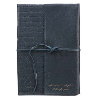 I Know the Plans Black Full Grain Leather Journal with Wrap Closure - Jeremiah 29:11